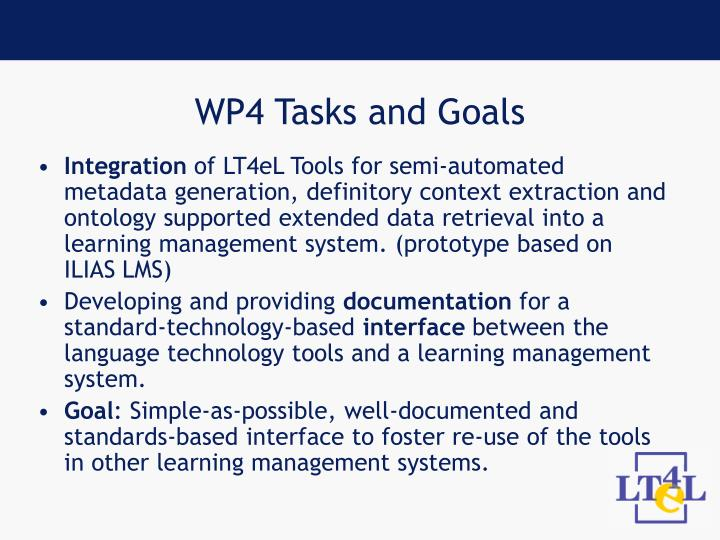 WP4 Tasks and Goals