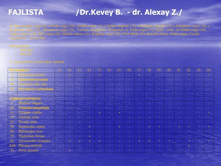 FAJLISTA               /Dr.Kevey B.  - dr. Alexay Z./
