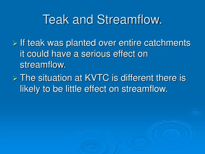 Teak and Streamflow.