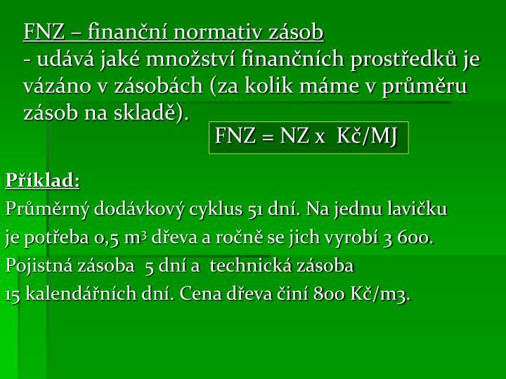 FNZ – finanční normativ zásob