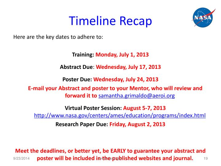 Timeline Recap