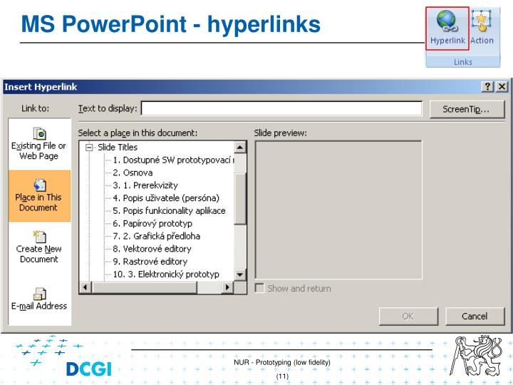 MS PowerPoint - hyperlin