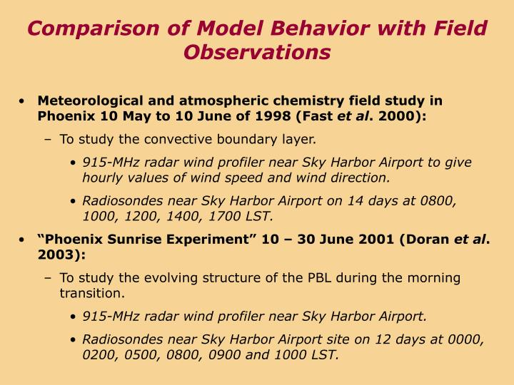 Comparison of Model Behavior with Field Observations