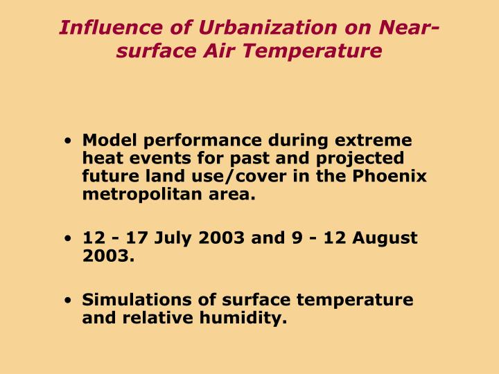 Influence of Urbanization on Near-surface Air Temperature