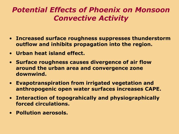 Potential Effects of Phoenix on Monsoon Convective Activity