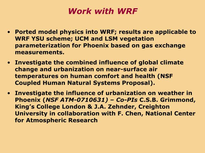 Work with WRF
