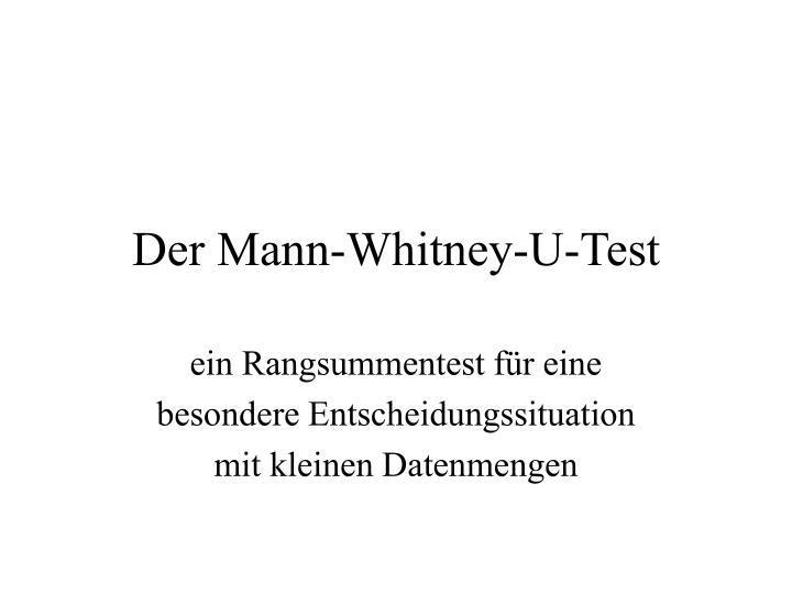 Der Mann-Whitney-U-Test