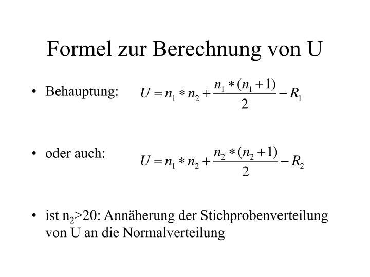 Formel zur Berechnung von U