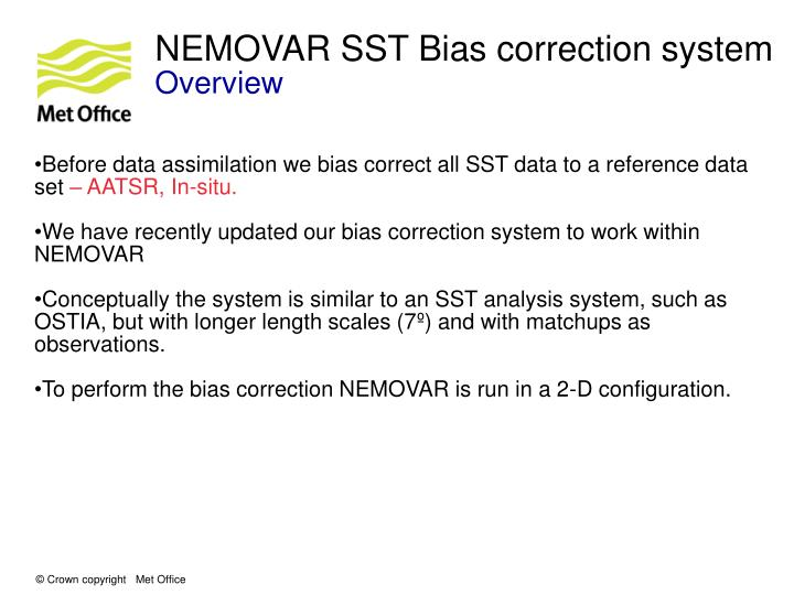 NEMOVAR SST Bias correction system
