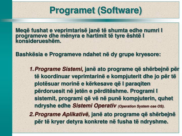 Meqë fushat e veprimtarisë janë të shumta edhe numri I programeve dhe mënyra e hartimit të tyre është I konsiderueshëm.