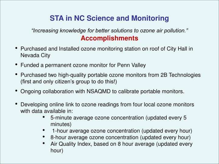 STA in NC Science and Monitoring