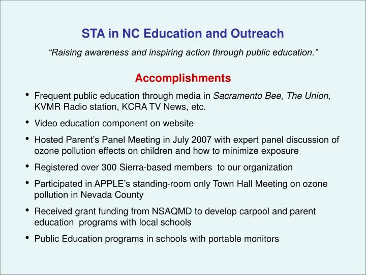 STA in NC Education and Outreach