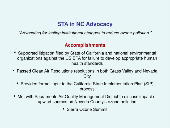 STA in NC Advocacy