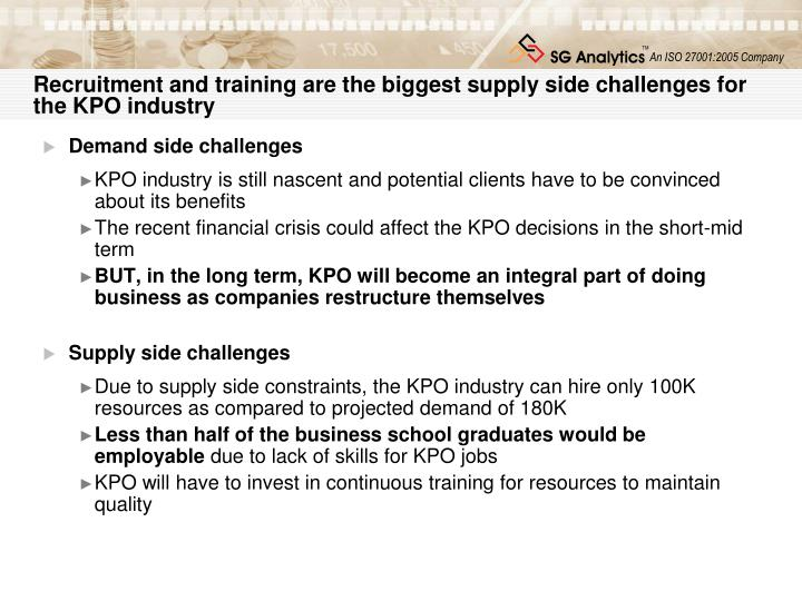 Recruitment and training are the biggest supply side challenges for the KPO industry