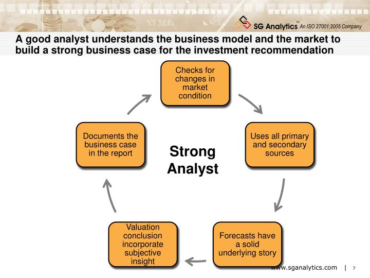 A good analyst understands the business model and the market to build a strong business case for the investment recommendation