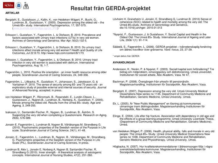 Resultat från GERDA-projektet