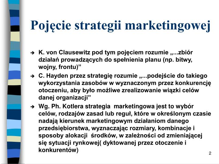 Poj cie strategii marketingowej