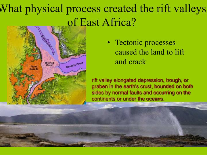 What physical process created the rift valleys of East Africa?