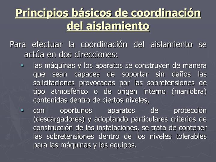 Principios básicos de coordinación del aislamiento