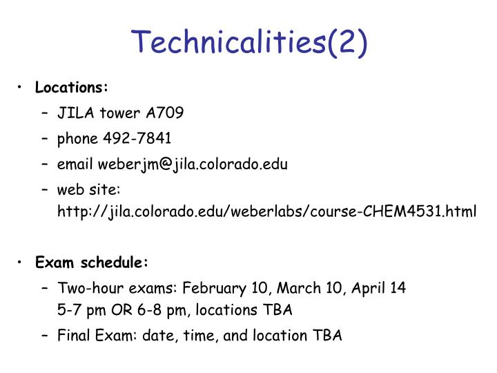 Technicalities(2)