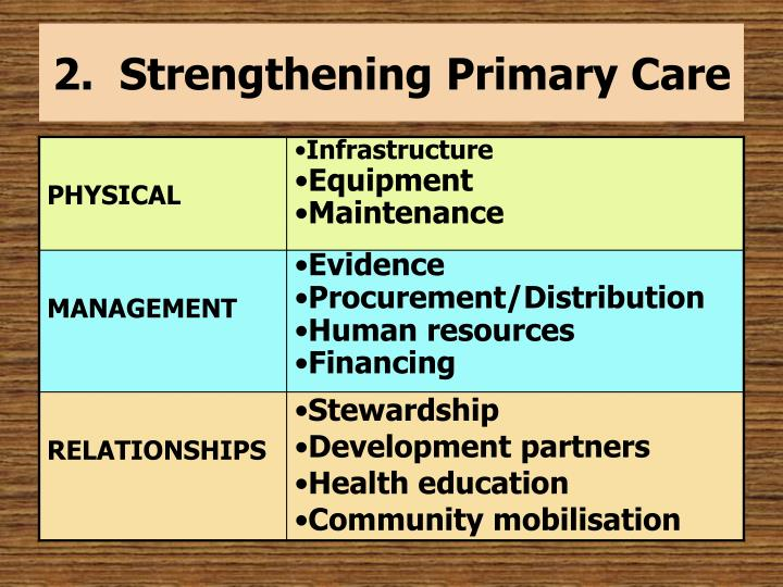 2.  Strengthening Primary Care