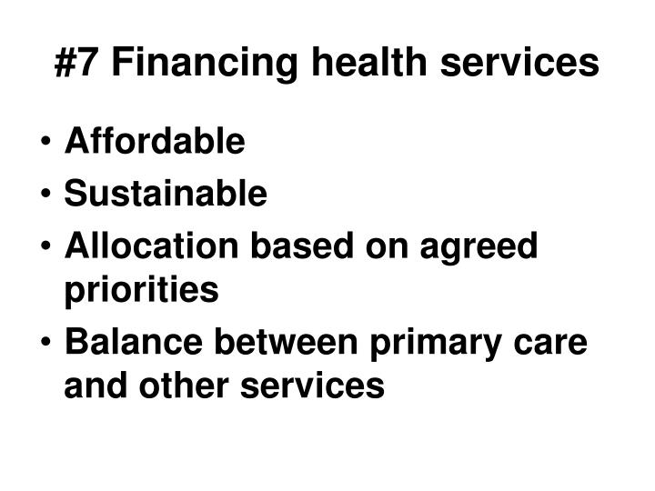 #7 Financing health services