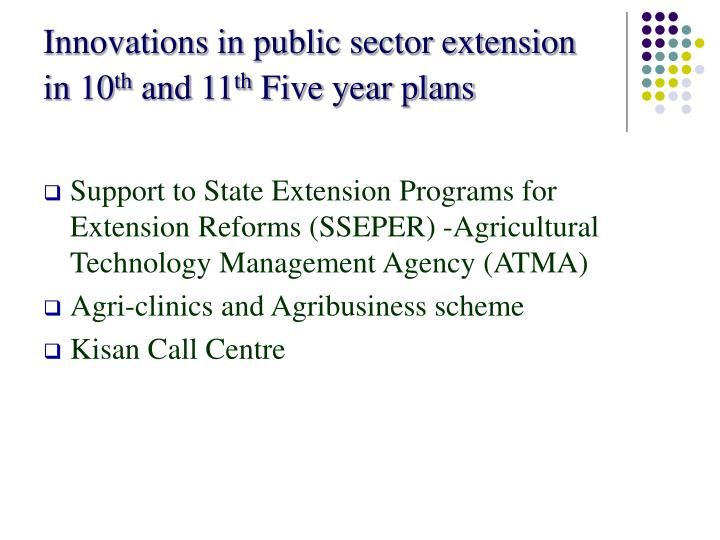 Innovations in public sector extension in 10