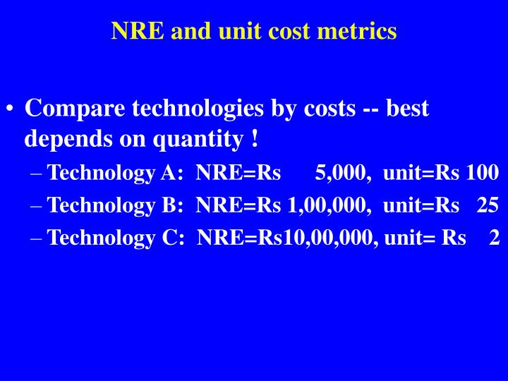 Compare technologies by costs -- best depends on quantity !