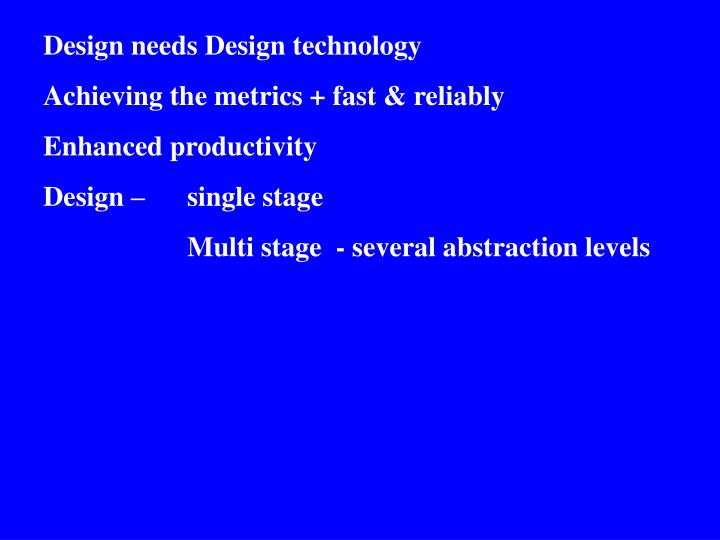 Design needs Design technology