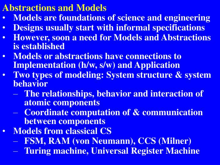 Abstractions and Models
