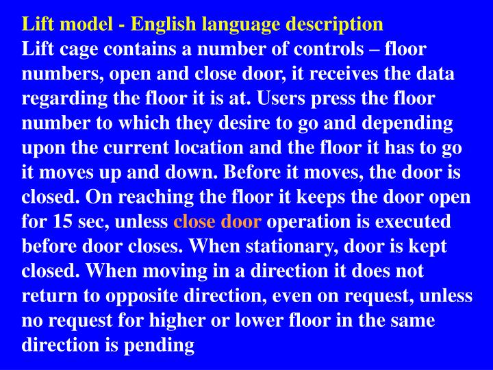 Lift model - English language description
