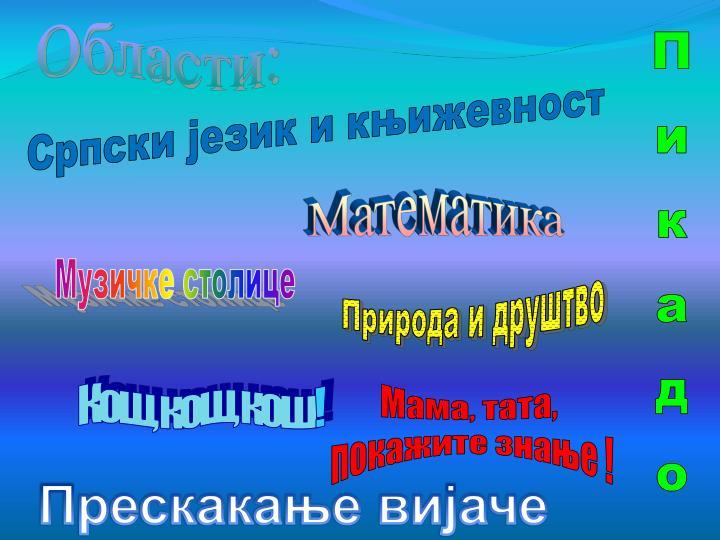 Области: