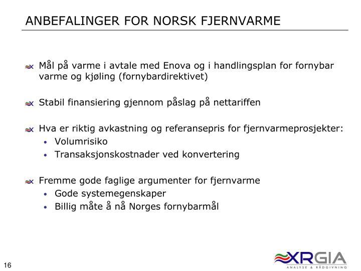 Anbefalinger For norsk Fjernvarme