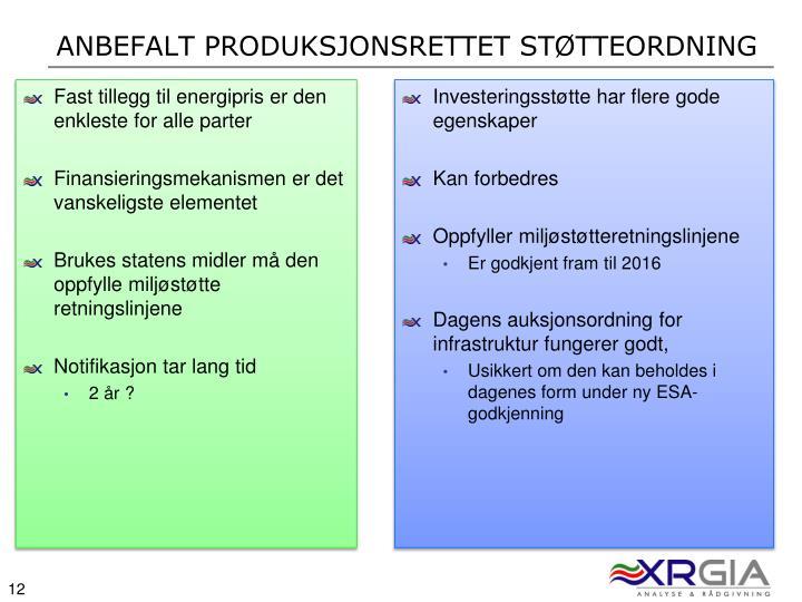 Anbefalt produksjonsrettet støtteordning
