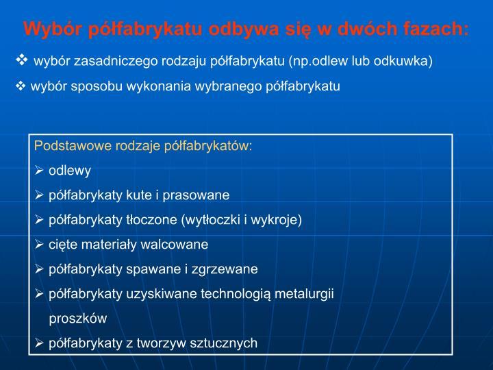 Wybór półfabrykatu odbywa się w dwóch fazach: