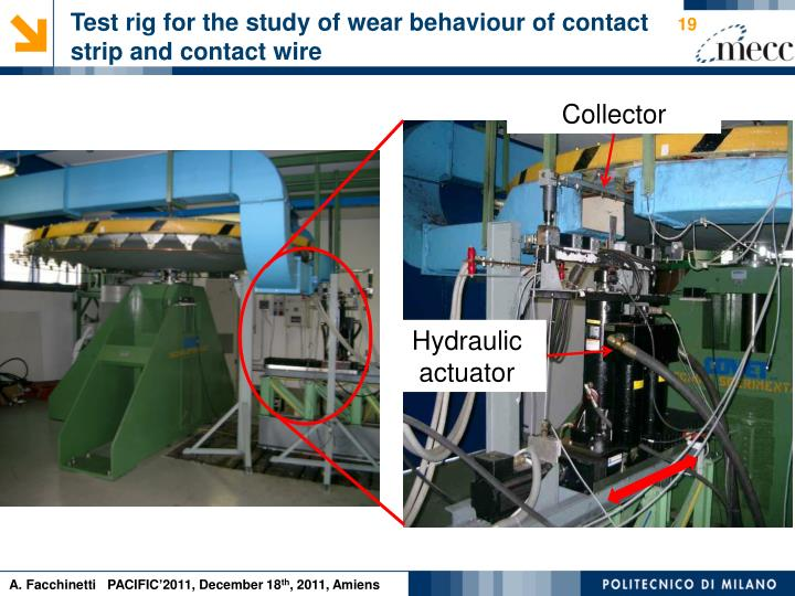 Test rig for the study of wear behaviour of contact strip and contact wire