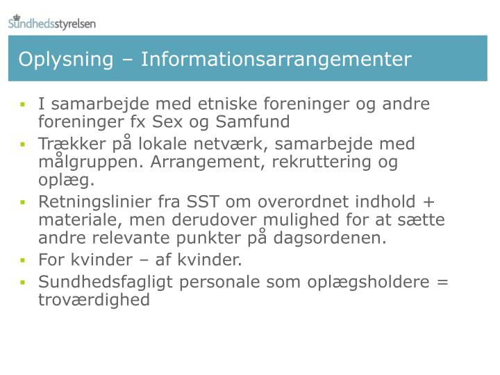 Oplysning – Informationsarrangementer