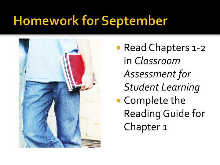 Homework for September