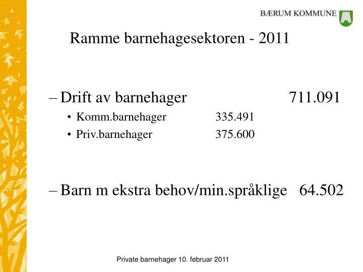 Ramme barnehagesektoren - 2011
