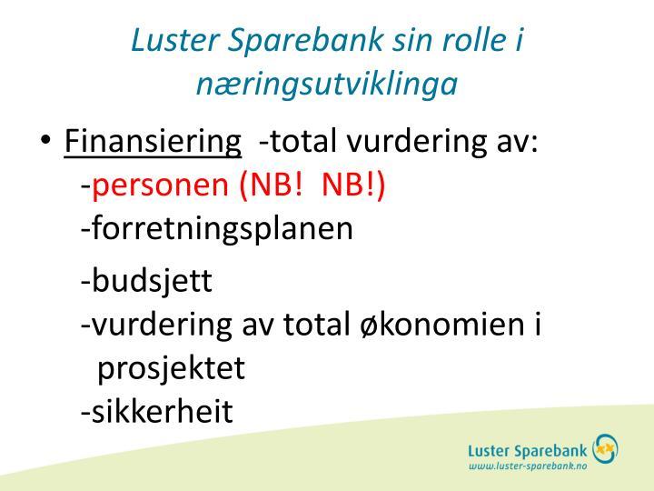 Luster Sparebank sin rolle i næringsutviklinga