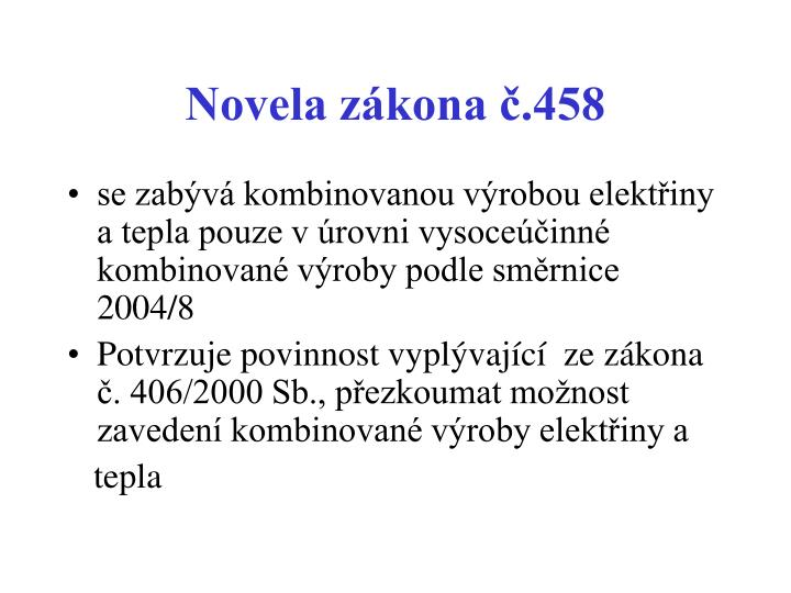 Novela zákona č.458