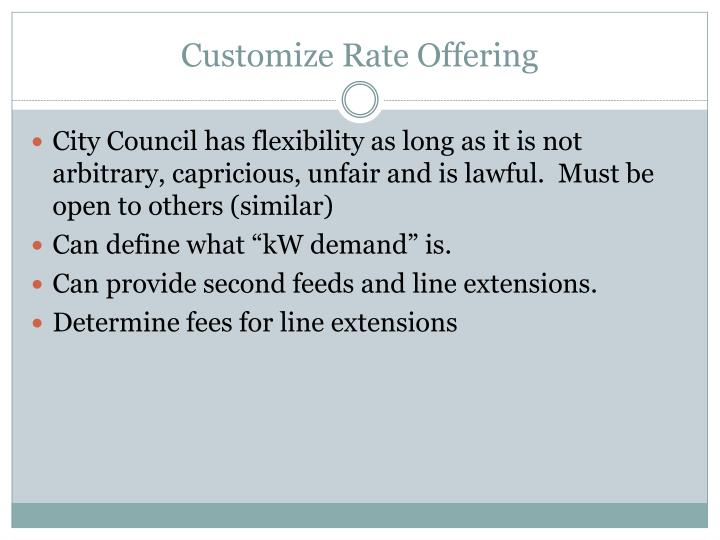 Customize Rate Offering