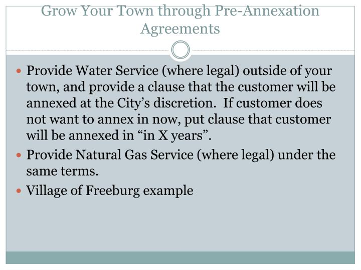 Grow Your Town through Pre-Annexation Agreements