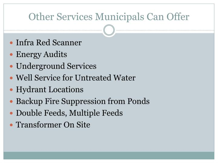 Other Services Municipals Can Offer