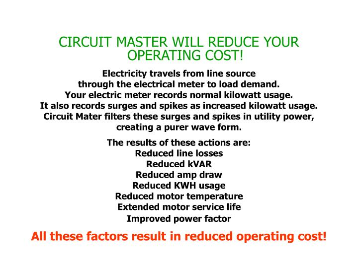 CIRCUIT MASTER WILL REDUCE YOUR OPERATING COST!