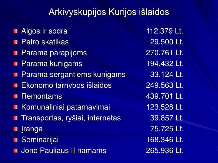 Arkivyskupijos Kurijos išlaidos
