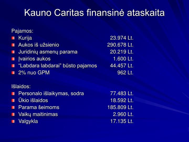 Kauno Caritas finansinė ataskaita