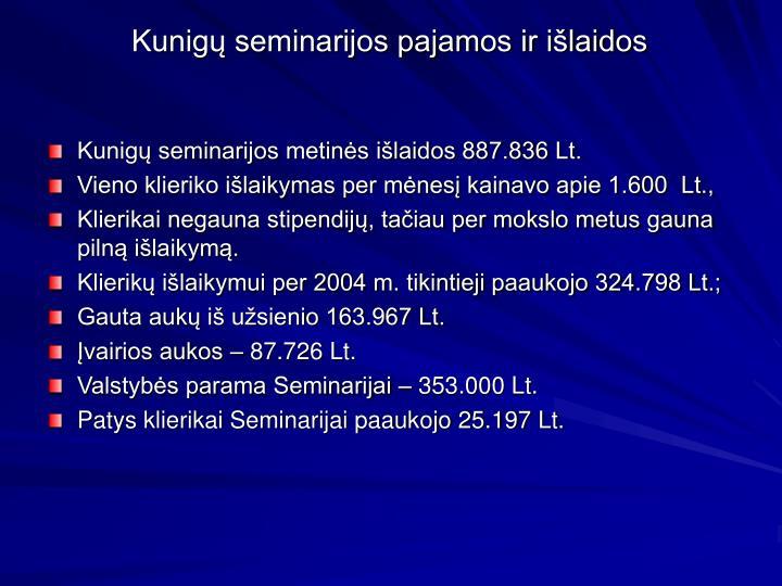 Kunigų seminarijos pajamos ir išlaidos
