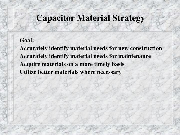 Capacitor Material Strategy