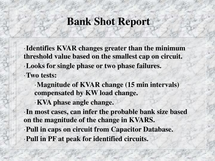 Bank Shot Report